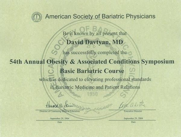 Dr. David Davtyan's 2004 American Society Of Bariatric Physicians 54Th Obesity &Amp; Associated Conditions Symposium Certificate