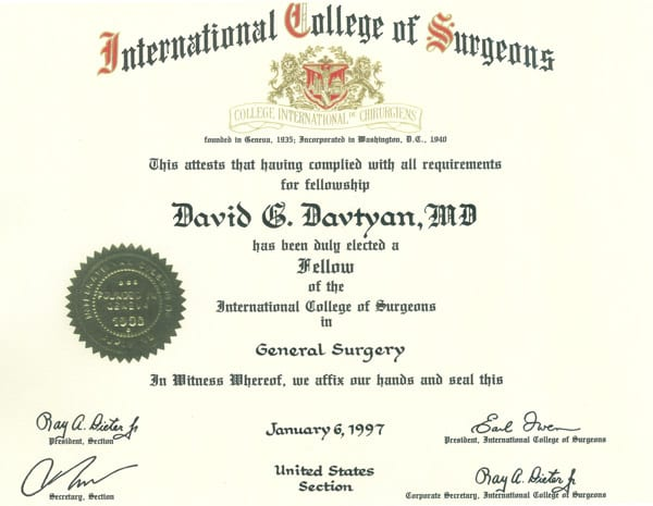 David G. Davtyan's 1997 Fellow Of The International College Of Surgeons In General Surgery Certification
