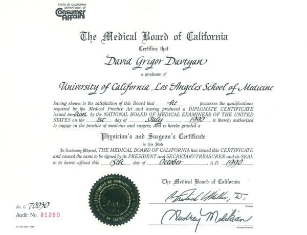 Dr. David Davtyan's 1990 Medical Board Of California Ucla School Of Medicine Physician's &Amp; Surgeon's Certificate