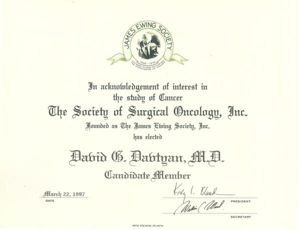 1997 Certification Society Of Surgical Oncology Inc. James Ewing Society Elected David G. Davtyan, Md As Candidate Member
