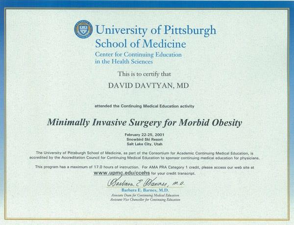 Dr. David Davtyan's 2001 University Of Pittsburgh School Of Medicine Minimally Invasive Surgery Certificate Salt Lake Utah