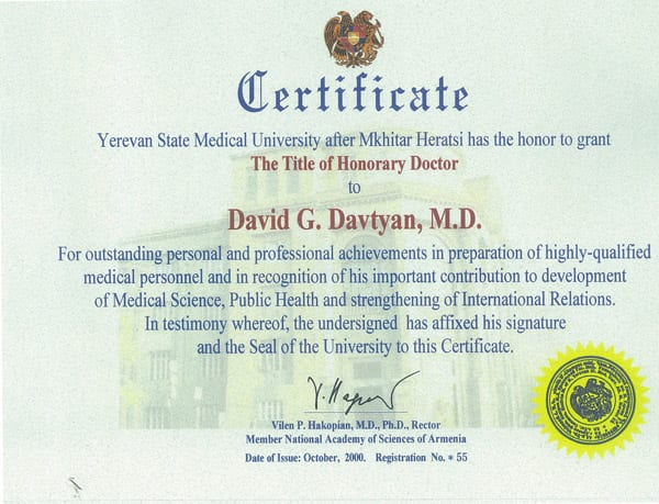 Dr. David Davtyan's 2000 Yerevan State Medical University Honorary Doctor Certificate