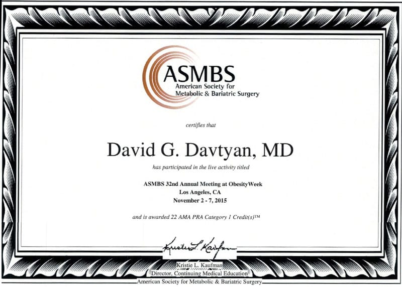 David G. Davtyan's 2015 Certificate Participating In The Asmbs 32Nd Annual Meeting At Obesity Week Los Angeles, Ca