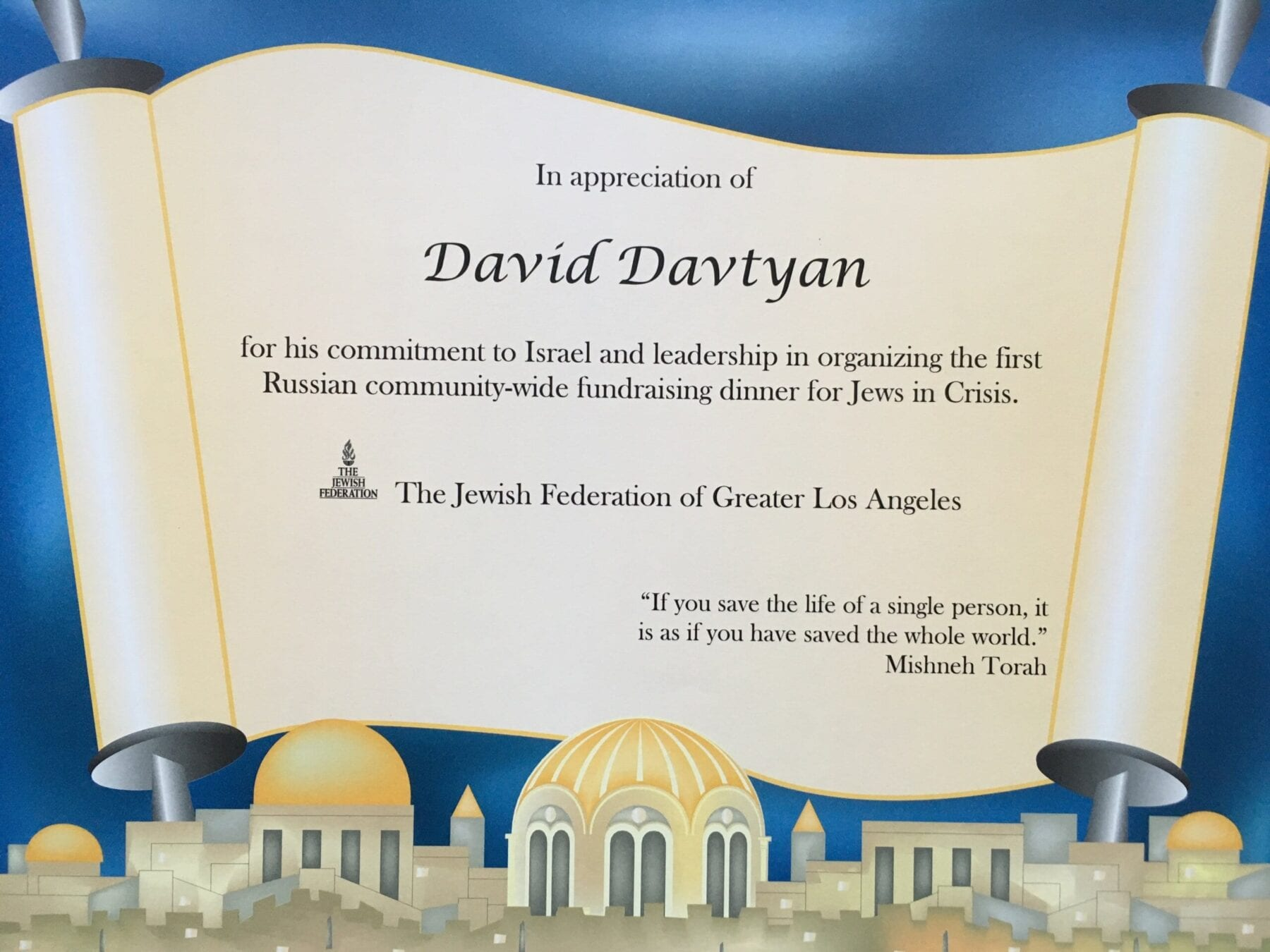 Dr. David Davtyan's Certificate Of Appreciation For Organizing The First Russian Community-Wide Fundraising Dinner For Jews In Christ