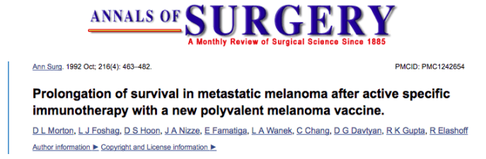 Dr. David G. Davtyan Involved In The Development Of A Melanoma Vaccine With Dr. Donald Morton, With Our Work Published In Annals Of Surgery