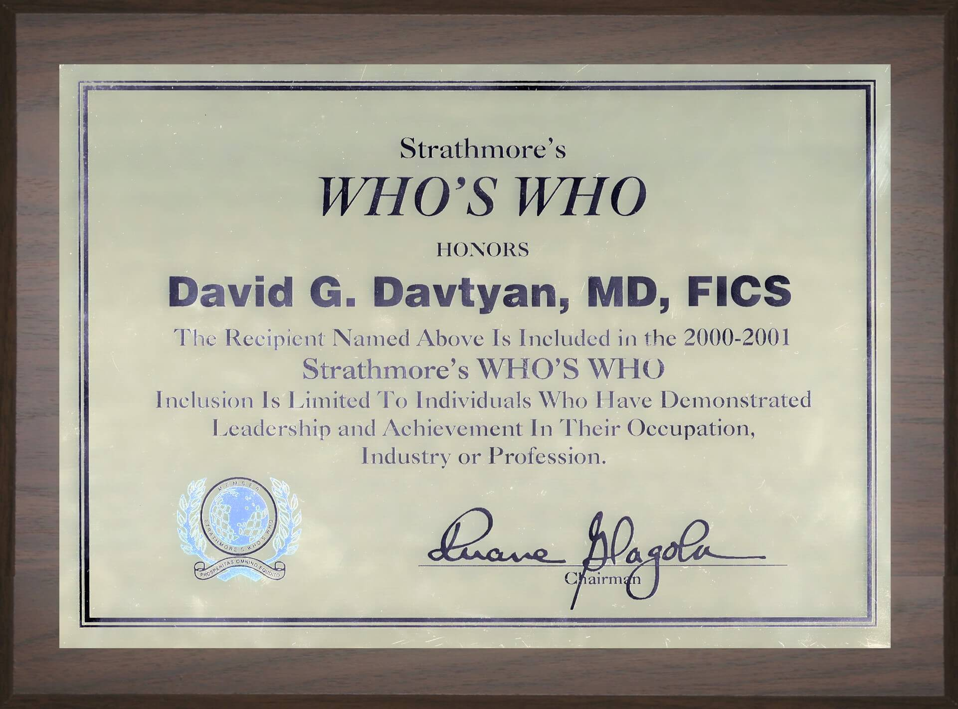 Dr. David Davtyan Strathmore's Who's Who Honors Best Bariatric Weight Loss Surgeon Los Angeles Beverly Hills Glendale Rancho Cucamonga