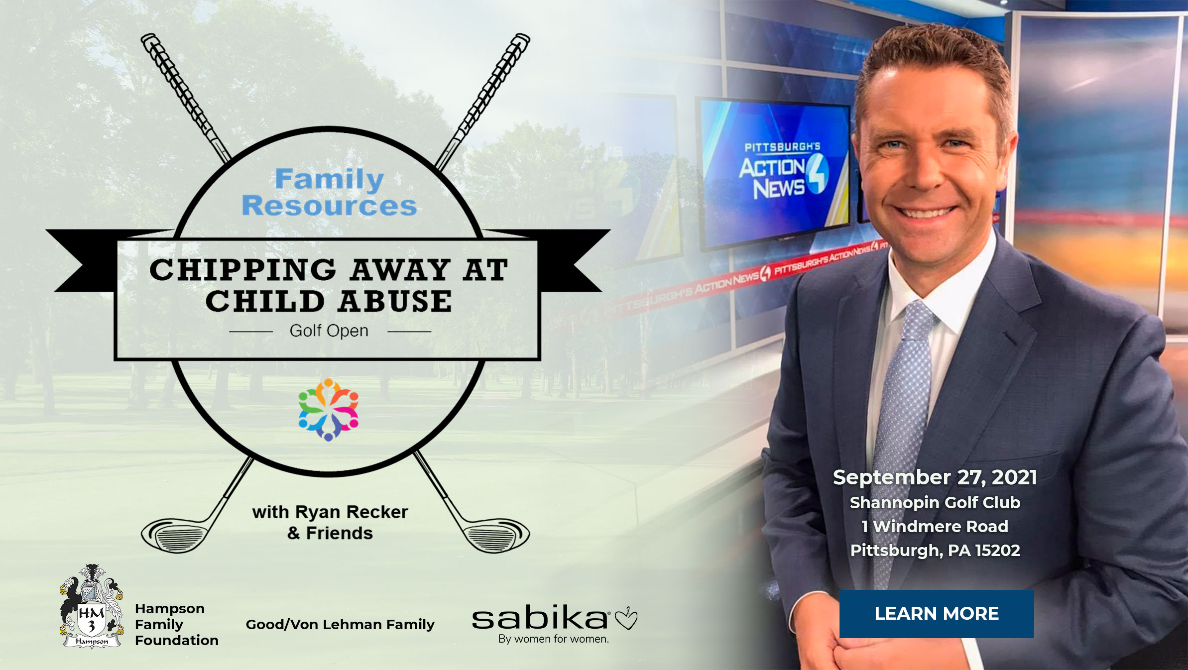 """Banner for Charity Golf Event - """"Chipping Away at Child Abuse"""""""