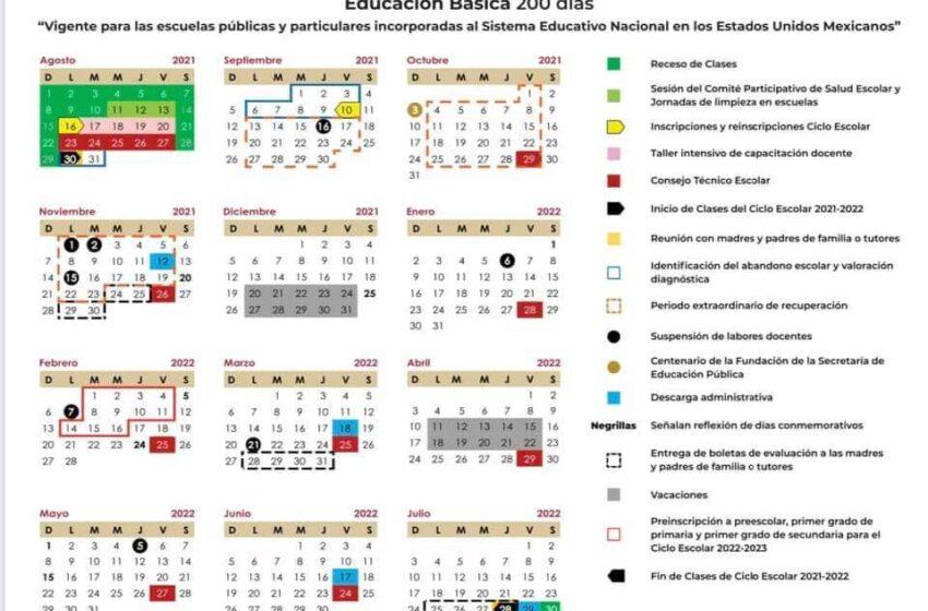 200 DÍAS DE CLASES MARCA EL CALENDARIO ESCOLAR 2021-2022