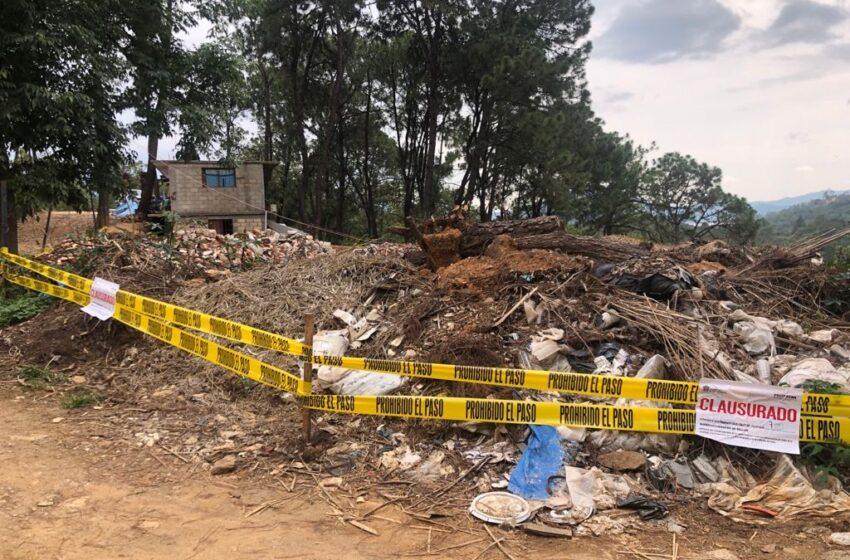 CLAUSURAN CONSTRUCCIONES EN ÁREAS NATURALES PROTEGIDAS Y TIRADEROS CLANDESTINOS DE CASCAJO EN VALLE DE BRAVO