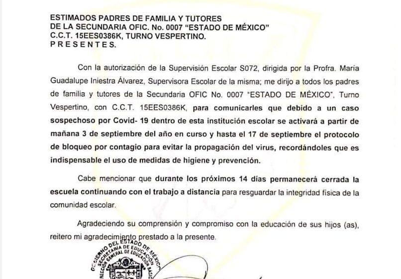 POR CASOS SOSPECHOSOS Y POSITIVOS DE COVID-19 CIERRAN ESCUELAS DEL VALLE DE TOLUCA