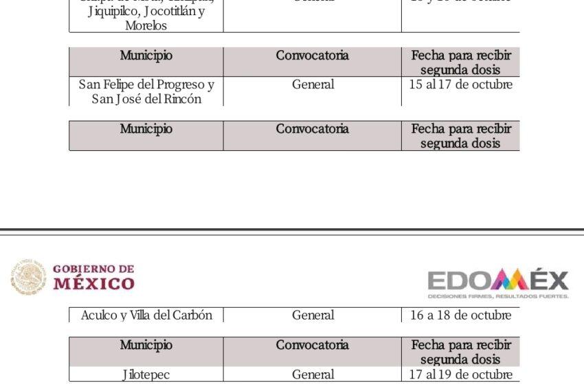 ANUNCIAN APLICACIÓN DE SEGUNDA DOSIS DE VACUNA CONTRA COVID-19 PARA PERSONAS DE 30 A 39 AÑOS EN 16 MUNICIPIOS