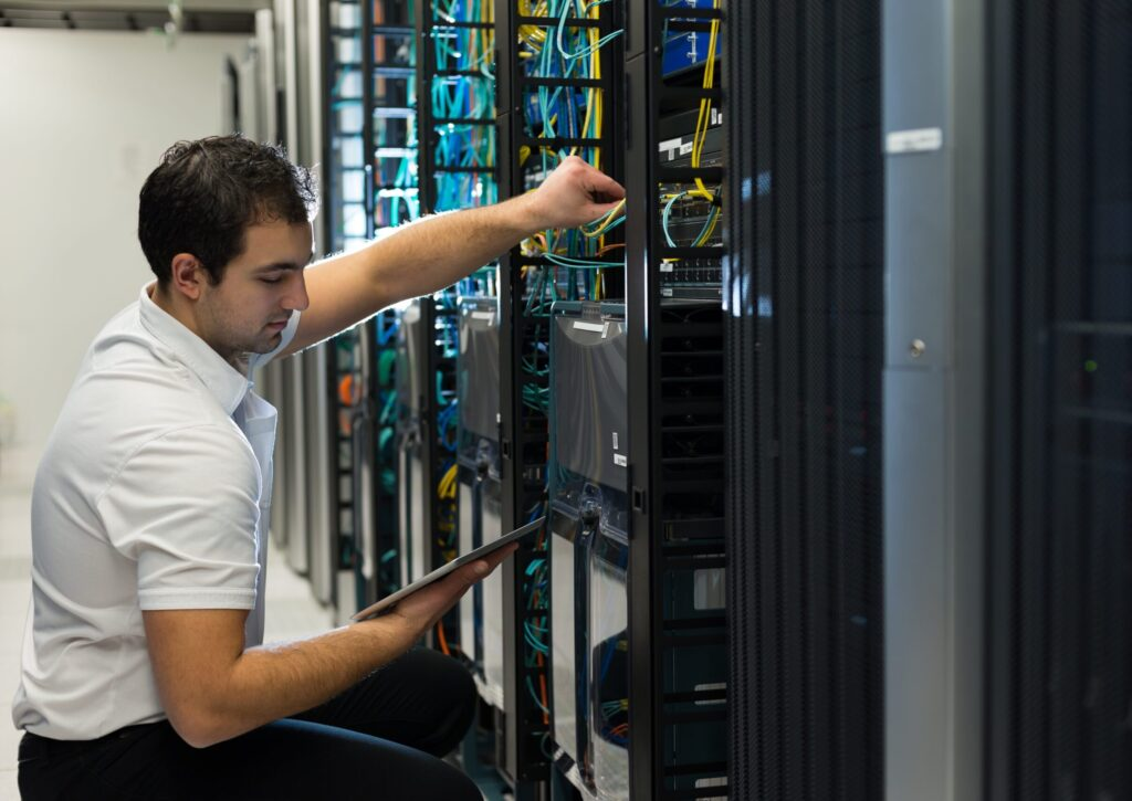 IT technician working in data center