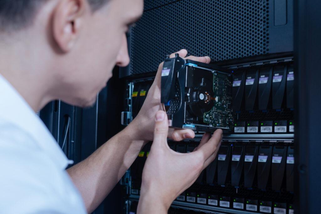 IT Technician installing hardware