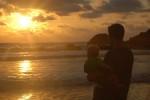 Playa Ventanas Costa Rica sunset baby dad