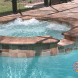 Round Spa with Rustic Tilework