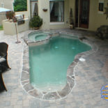 Small Inground Pool with Spa and Kitchen Area