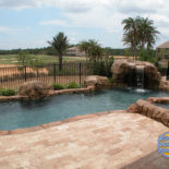 Rock Waterfall and Large Patio Pavers