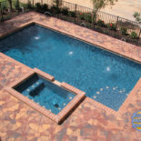 Large Rectangular Pool with Unique Patio Design
