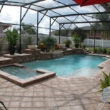 Large Pool Area with Square and Round Features