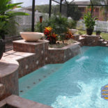 Landscaping and Waterfall into Custom Pool