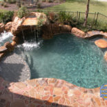 Flagstone Patio with Spa and Bar Feature