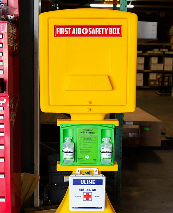 First Aid Plus Safety Box in a warehouse.