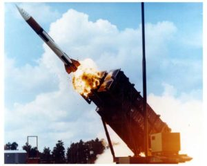 Patriot missiles are designed to shoot incoming missiles out of the sky and are made by Raytheon.  During the first Gulf War we were told they protected Israel from Iraq's Scud missiles, but later reporting by the New York Times says otherwise.