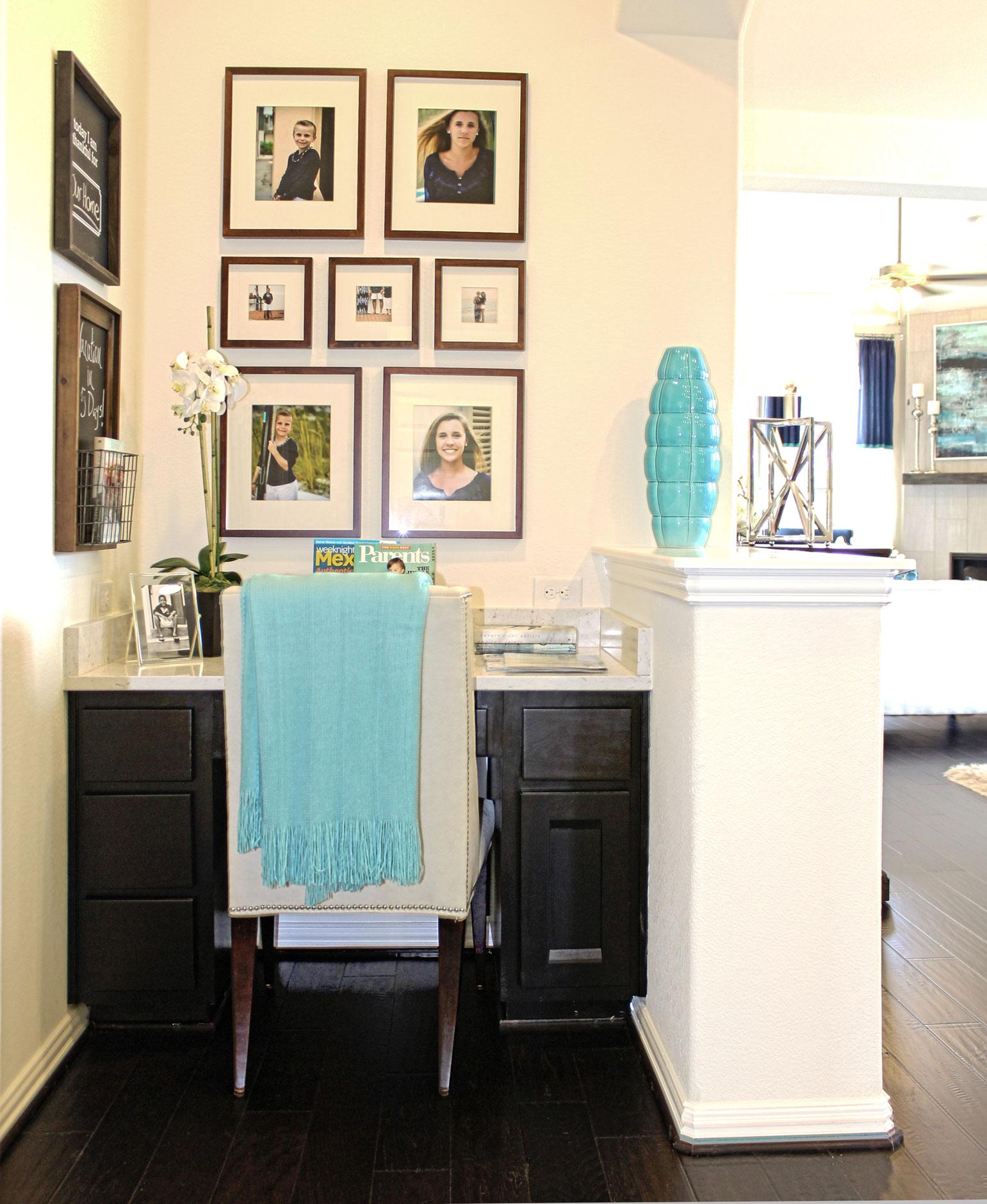 Burrows Cabinets' built in desk in Beech - Rye with Briscoe door design