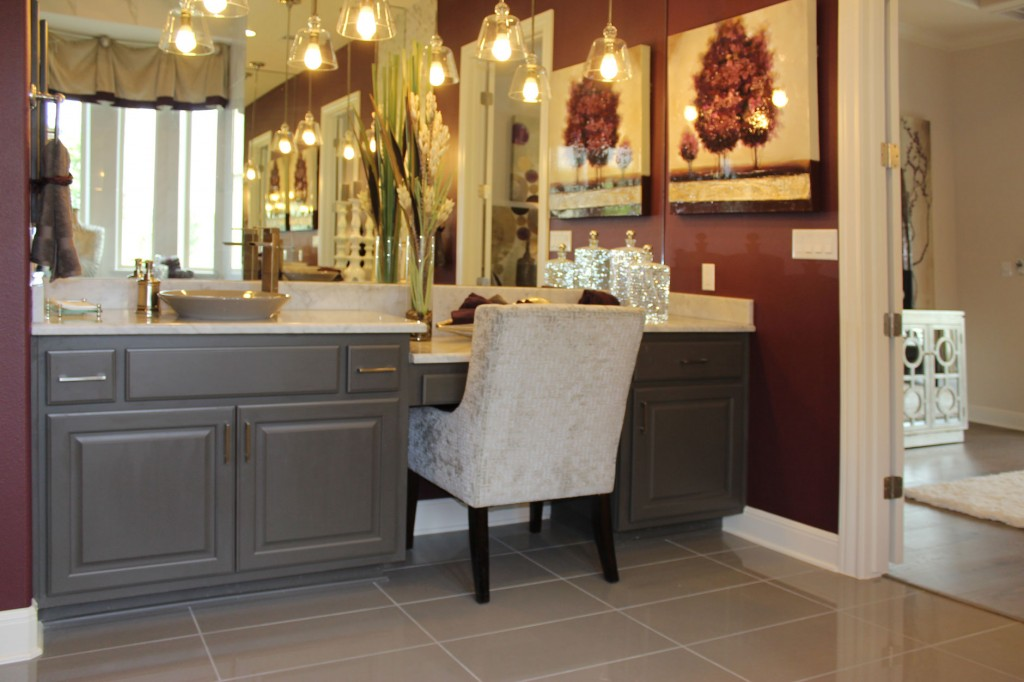 Master bath cabinets in Umber with knee space by Burrows Cabinets