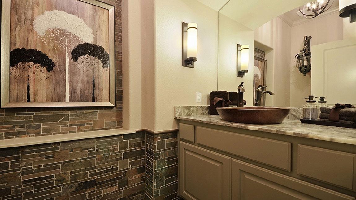 Burrows Cabinets powder room vanity in Ecru