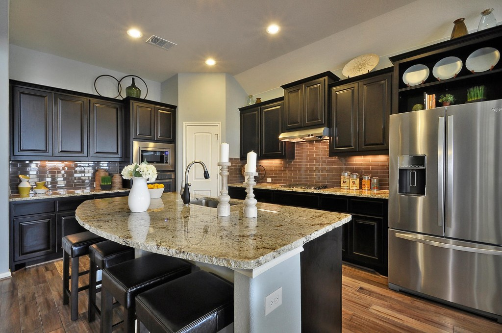 Burrows Cabinets beech kitchen cabinets with Espresso stain