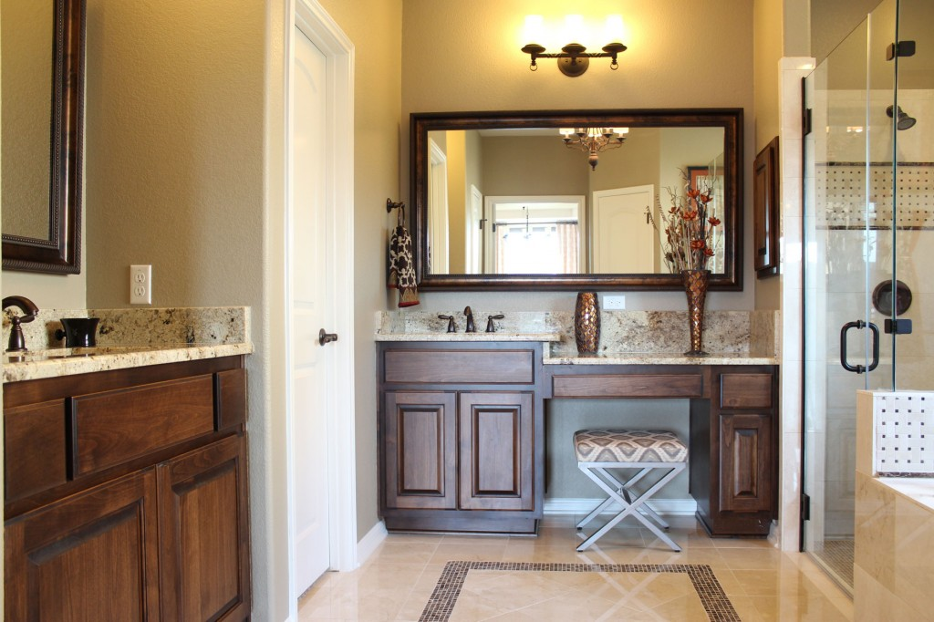 Burrows Cabinets masBurrows Cabinets master bath in stained alder and bumped up vanity next to knee spaceter bath in alder with verona stain and bumped up vanity next to knee space