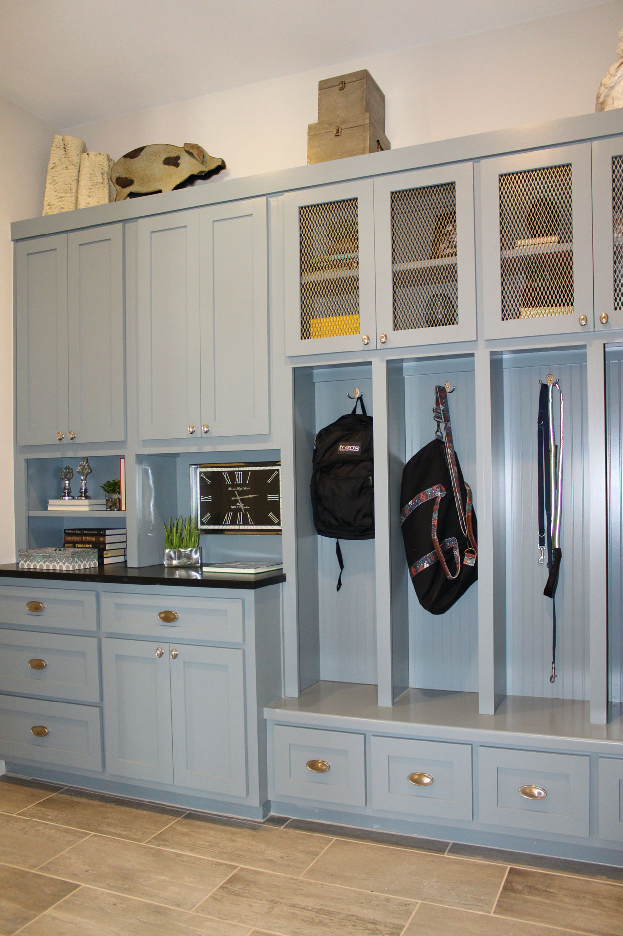 Burrows Cabinets mud room storage cabinets painted gray-blue