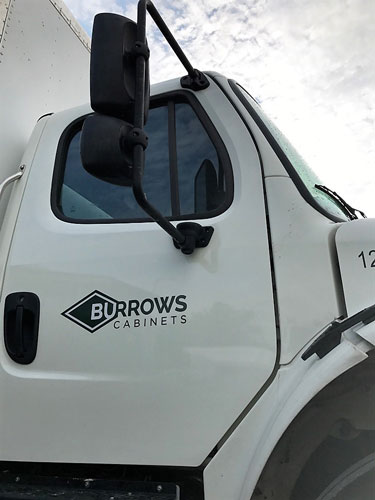 Burrows Cabinets truck decal logo install finished