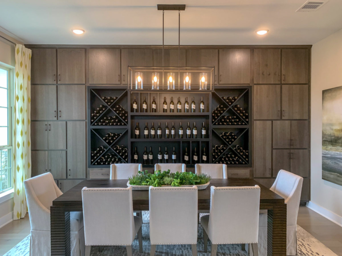 Modern built-in dining room cabinets in SoCo Hickory Driftwood