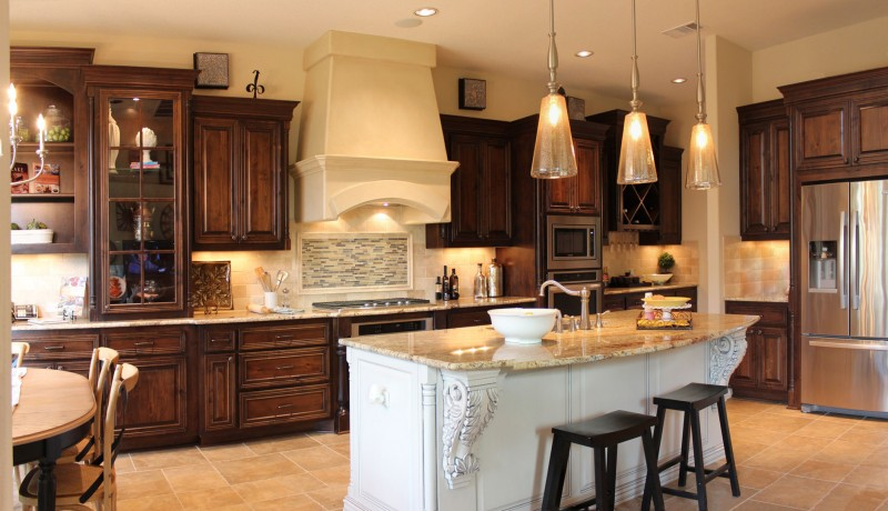 Burrows Cabinets' kitchen cabinets in stained knotty alder