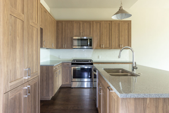 EVRGRN kitchen cabinets with 5-piece doors - horizontal view