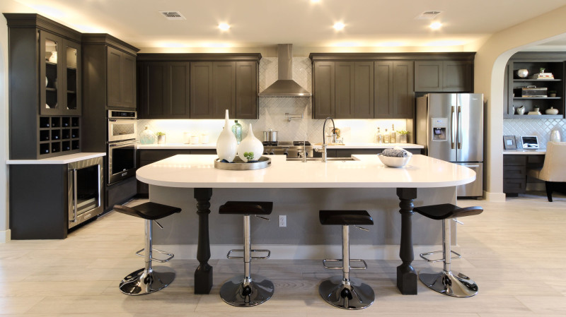 Burrows Cabinets kitchen in Umber with Terrazzo doors