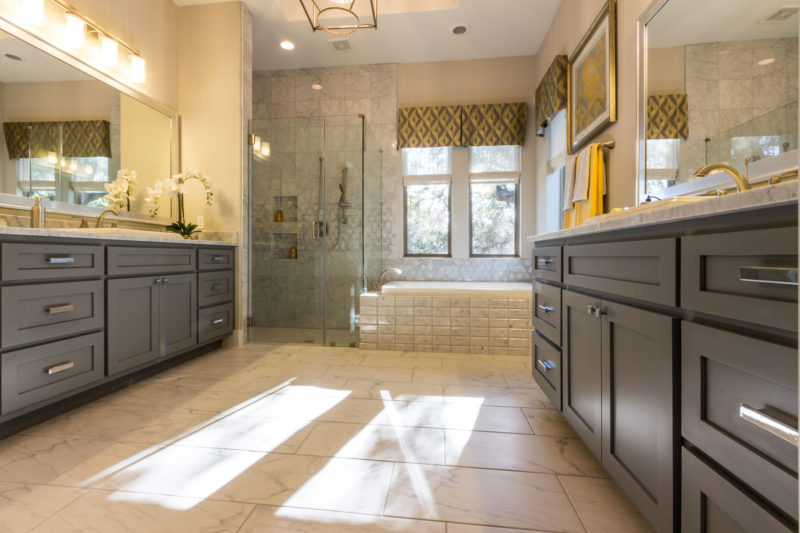 Burrows Cabinets Master Bath with Shaker doors in Ash grey