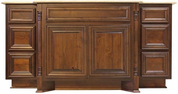 Burrows Cabinets' bathroom vanity with corner posts, sweep blocks and 3-drawer stacks