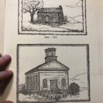 Sketches by Rose Miller Lenhart of first meeting house and first church building, in center of Vernon Center Green