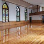 August 2019, newly restored floors.