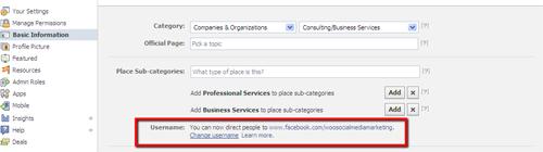 Choosing a Facebook Username