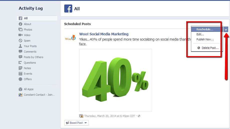 Schedule Facebook Posts | Activity Log