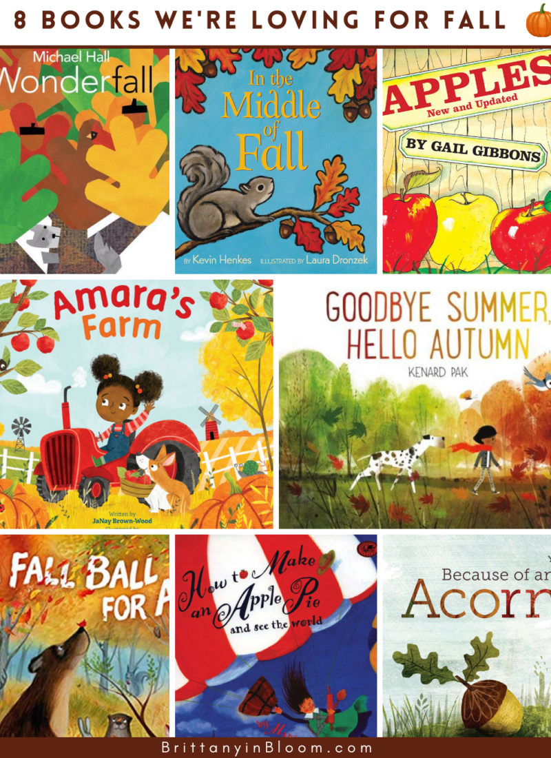 This collage shows 8 books that Brittany and Lenny have enjoyed reading this fall. Each book title is mentioned in the post.
