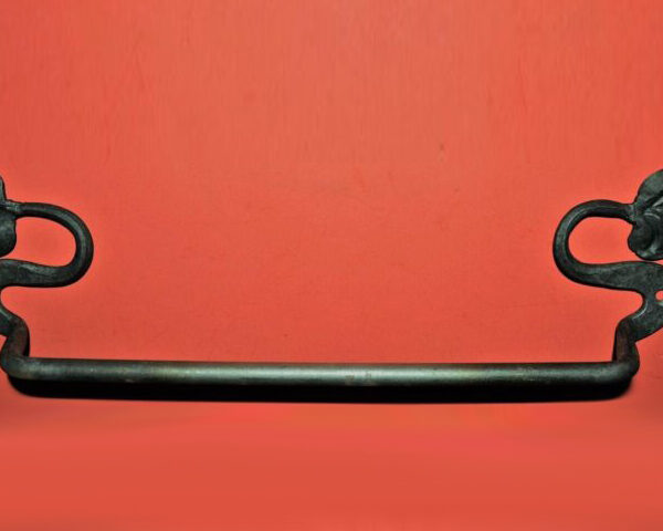 Wrought Iron 16 in. Towel Bar with leaf ends