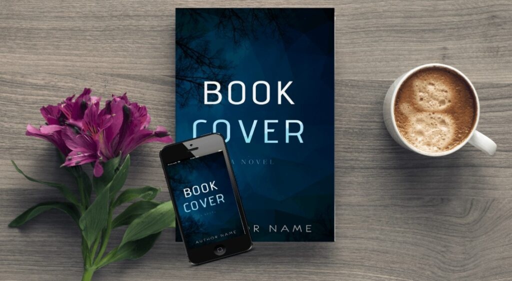 Coffee Table Book with iPhone and Flower Mockup