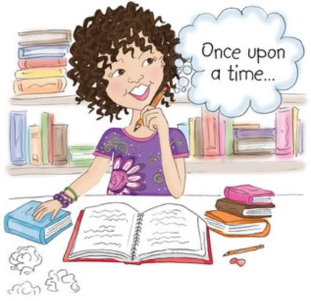 Female Author Writing Clipart