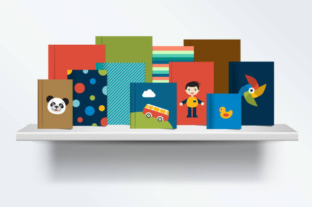 Kids Bookshelf Clipart