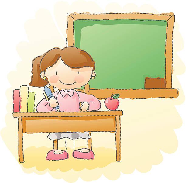 Teacher Sitting At Her Desk Clipart